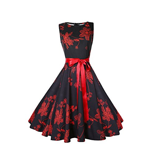 TEBAISE Damen 1950er Vintage Cocktailkleid Rockabilly Retro Schwingen Kleid Faltenrock mit Bogen Blumen Cocktail Party Kleid Karneval Fasching Business Abendkleid Knielang
