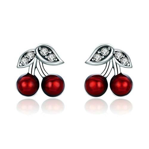 Deaman Sommer Kirsche Ohrstecker Mode Mädchen Ohrringe Elegant Damen Earrings Exquisite 925 Silber Ohrstecke -