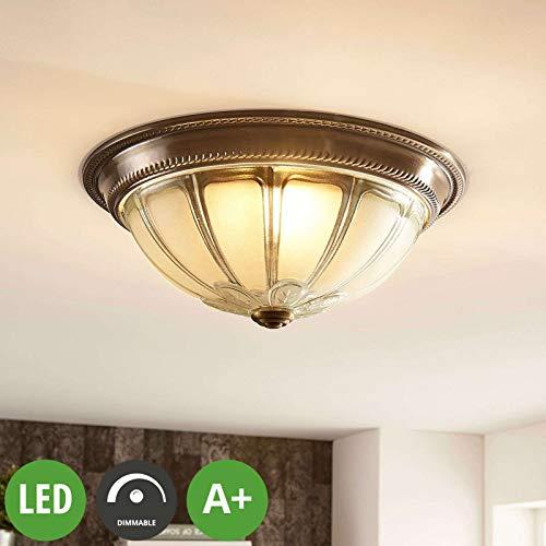 Lampenwelt LED Deckenleuchte \'Henja\' dimmbar (Retro, Vintage, Antik) in Bronze aus Glas u.a. für Wohnzimmer & Esszimmer (1 flammig, A+, inkl. Leuchtmittel) - Lampe, LED-Deckenlampe, Deckenlampe