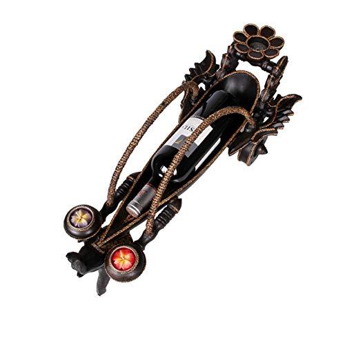 WFFM Kreatives Weinregal Weinregal aus geschnitztem Teakholz kleine Displaydekoration Elefantenwagen Weinregal Handwerk zu Hause
