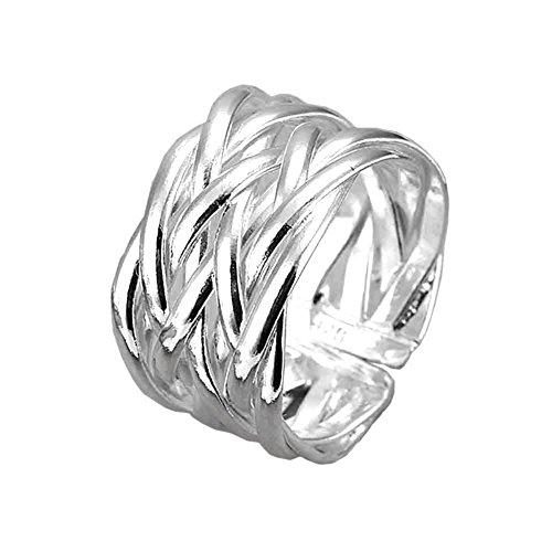 Anello componibile Placcato argento sterling 925 Gioiello di alta qualità Donna Bianco Inna Treccia Misura 18 regolabile