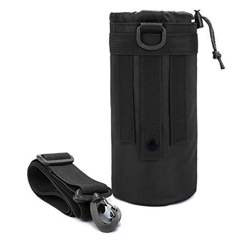 Beiswin Militärische Wasserflasche Beutel Halter Tasche Camouflage Nylon Tactical Wasserkocher Taille Aufbewahrungstasche (Schwarz) - Der Mailbox Die Besten