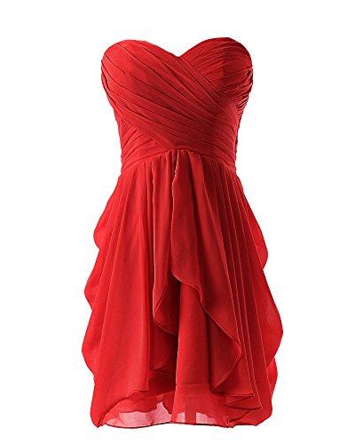 SaiDeng Femme Robe De Demoiselle D'Honneur Soirée Bal Courte À Col En Cœur En Mousseline Rouge