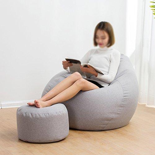 2 pièces haricot sac tabouret chaise longue canapé chaise longue unique créative amovible et lavable petit appartement chambre à coucher (Couleur : Gris clair, taille : S)