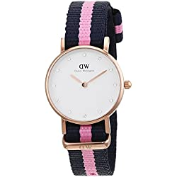 Daniel Wellington women's quartz Watch with White Dial analogue Display and Blue/Pink nylon Strap 0906DW