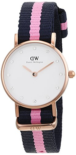 Daniel-Wellington-womens-quartz-Watch-with-White-Dial-analogue-Display-and-BluePink-nylon-Strap-0906DW