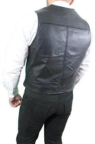 315 von RICANO Herren Lederweste, Rind Nappa Echtleder, schwarz Schwarz