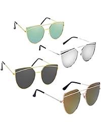 Elligator UV Protected Non-Polarized Women's Sunglasses(Multicolour) - Pack of 4
