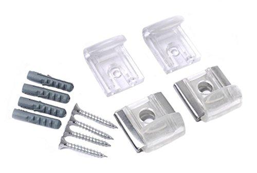 BSM Marketing Specchio in vetro da appendere alla parete del pannello montaggio kit di fissaggio–Clip di plastica trasparente, ganci, staffe