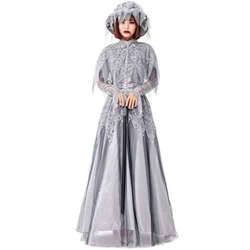 DYHOZZ Halloween Kleid Schädel Kopf Geist Braut Kostüm Geist Festival Geist Prinzessin Cosplay Kostüm (Color : Gray, Size : - Schädel Braut Kostüm