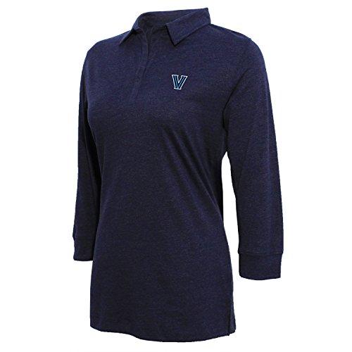 Crable Damen 3/4Sleeve Jersey Polo, Damen, Women's 3/4 Sleeve Jersey Polo, Heather Blue, Large -