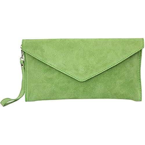 ofertas para el dia de la madre AMBRA Moda Mujer ante Envelope Clutch correa de mano bolso hombro Antebrazo bolso para mujer de piel de velour wl801