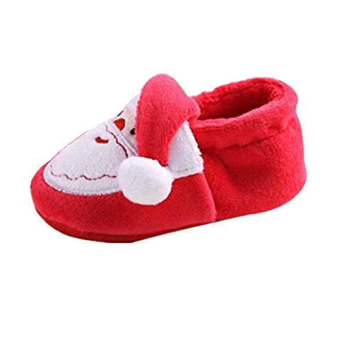 Auxma Baby Mädchen Segeltuch Schuhe Kinderschuhe Hausschuhe weich Rutschfeste Sohle (13cm / 12-18 Monate, khaki) Rot
