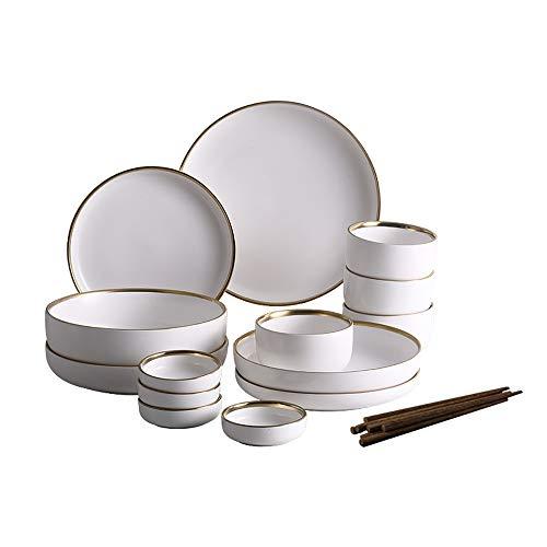 DS- Bol Nordic Creative créative Vaisselle en céramique Phnom Penh Plats Occidentaux Assiette à Steaks Bol de Riz Bol de Salade - 2 Couleurs, 2 Jeux && (Couleur : Blanc, Taille : 4-Person Suit)