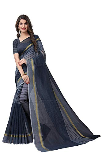 unique enterprise Women's Marbal Silk Sarees With Blouse(PITCH RAVET) (grey)