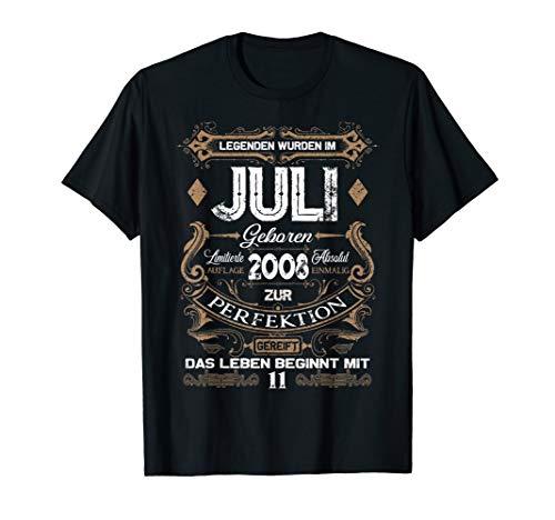 Geschenk zum 11. Geburtstag Jahrgang 2008 Juli T Shirt Jungs -