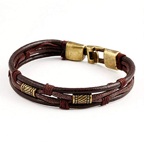HYMWAN Fashion Multi-Layer Echtes Leder Lässig/Sportlich Easy Alloy Hook Link Chain Bracelete for Men (Chain Kugel Link)