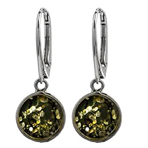 Amber Green Sterling Silver Round Leverback Earrings