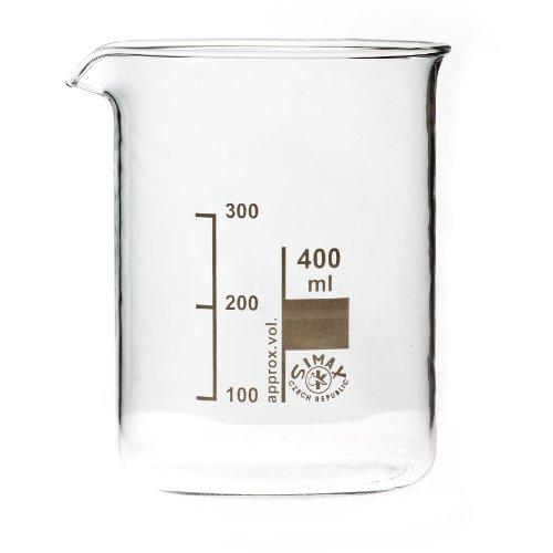 Bechergläser, Becherglas 400 ml niedere Form, mit Ausguss, graduiert