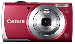 Canon PowerShot A2500 16MP Point-and-Shoot Digital Camera (Red) with SD Card, Camera Case