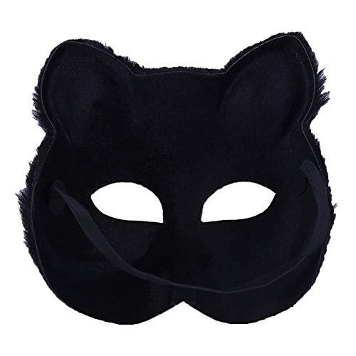 BONNIO Fox Mask Animal Cosplay Halbes Gesicht Kopfbedeckungen Kostüm Party ()