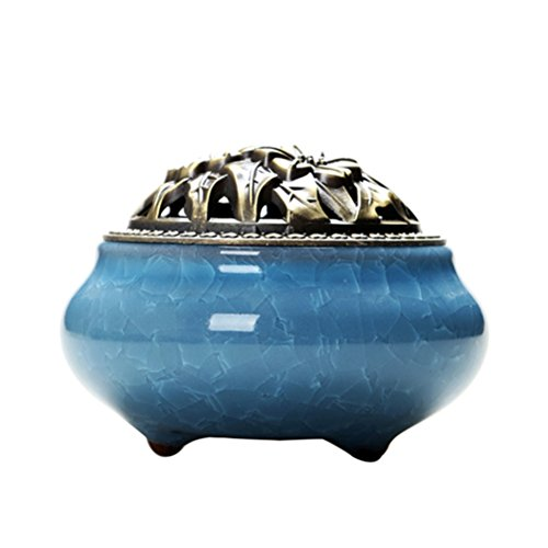 VORCOOL quemador de incienso Cone con cubierta de incienso aleación de pipa brasero de incienso de cerámica con bandejas (azul cielo)