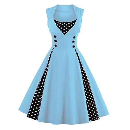 Dissa M1357 Damen 50er Retro Cocktail Vintage Rockabilly Kleid Hellblau