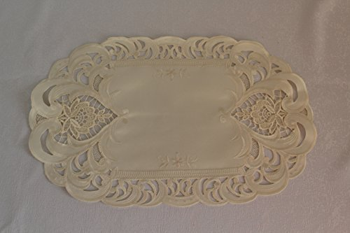 17 X 11 Placemat or Doily with Ivory Embroidery and Fabric and Lace Inset by Doily Boutique -