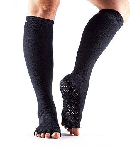 Toesox–Calcetines–Half Toe Grip–Scrunch caña alta, color negro Talla:Medium (6-8.5)