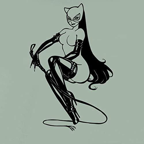 (YSQLLA Catwoman Wandtattoo Catgirl Comics Superheld Poster Vinyl Aufkleber Cartoon Home Room Interior Decor Kunstwand Haushaltswaren Design55X85Cm)