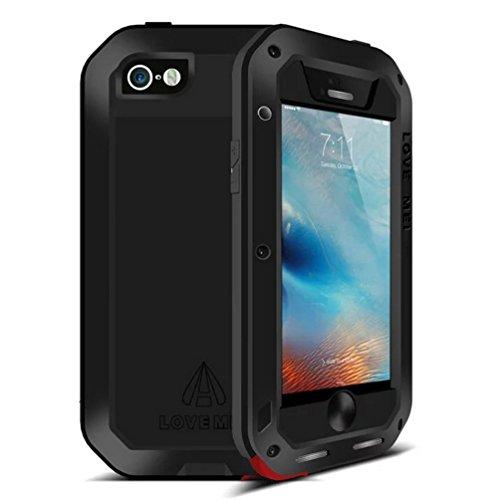 iPhone 6/6S Strap Case, i-Nings Schwerer wasserdichter schlagfester Aluminiumlegierungs-Silikon-Stoßfänger mit Gorilla-Glas-Bildschirmfolie für Apple 6/6S 4,7 Zoll (Black) Black