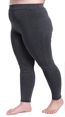 DD.UP Damen Modal Leicht Atmungsaktiv Übergröße Leggings blickdicht Plus Size Hosen Dunkel Grau