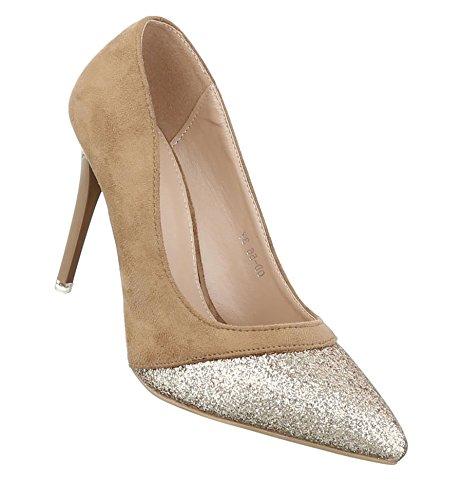 Damen Pumps Schuhe Elegant High Heels Beige