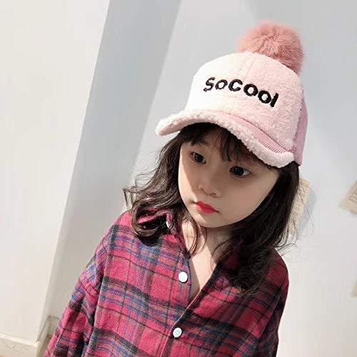 mlpnko Der Hut der Kinder beschriftet das niedliche Lammfell, das Baby-Baseballmütze-Männer näht und die Cordkappe der Frauenflutkinder rosa 3-7 Jahre alt