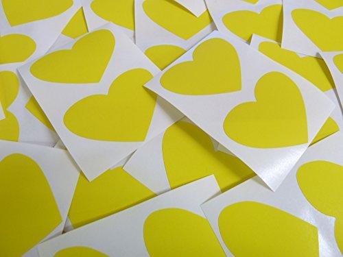 50x37mm Amarillo Con Forma De Corazón Etiquetas, 40 auta-Adhesivo Código De Color Adhesivos, adhesivo Corazones para Manualidades y Decoración