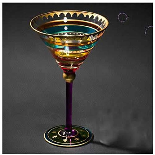 JYJQZ Verre Vin Rouge Cocktail Exquis Tasse En Verre Multicolore Unique Jolie Verre À Vin À La Maison Mobilier De Maison En Verre, Un