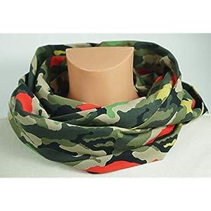 Baumwoll Loop Schal: Camouflage, grün bunt
