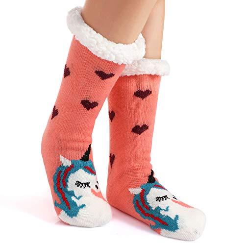 Tacobear Mujeres Gruesos lana calcetines de piso casa abrigados animal calcetines de mujeres antideslizantes calcetines de alfombra Zapatillas de casa para Mujer (Unicornio B)