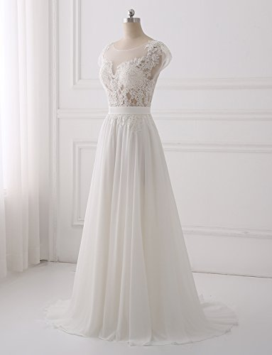 Erosebridal Ärmellos Spitze Chiffon Hochzeitskleid Brautkleid B ...