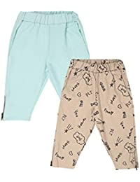Lil Orchids Girls Pack of 2 Casual Knee Length Pant(LO-2PCK-WVN-CPR-CMB-9)