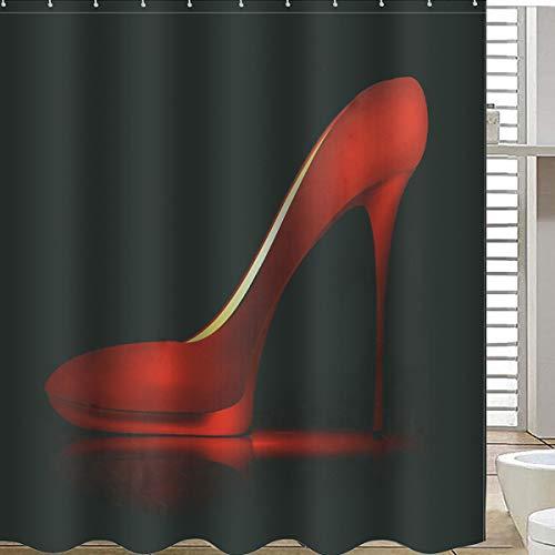 Kungfu Mall High Red Heels schwarz wasserdicht Badezimmer Dusche Vorhang Liner Polyester Stoff Badezimmer Vorhang & 12 Haken (Schwarz Stoff Dusche Vorhang Liner)