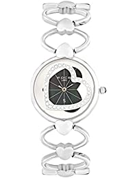 FOCE Silver Round Analog Wrist Watch for Women with Silver Metal Strap - F450LSM-BLACK