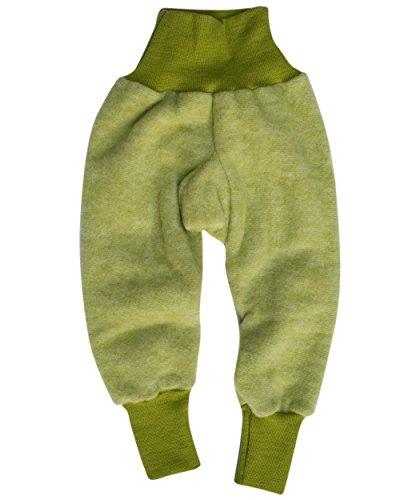 Cosilana Baby Hose mit Bund aus weichem Wollfleece, 100% Schurwolle kbT (86/92, Lindengrün-melange) (Waschbar Hosen Wolle)