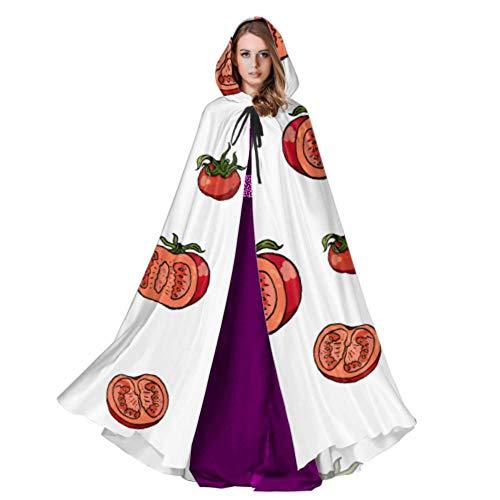 Yushg Tomates Enteros y en rodajas Verduras Capa con Capucha para Hombres Capa para Adultos Capa 59 Pulgadas para Navidad Disfraces de Halloween Cosplay