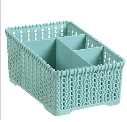 qianqianpuzi Kosmetische Aufbewahrungsbox Rattan Finishing Box Home Desktop Multi-Grid Storage Kosmetische Aufbewahrungsbox 19,3 * 13 * 10,2 Blau -