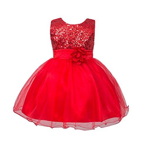 Brightup 0-24 Monate Baby Mädchen Kleider, Red, 12-18 (18 Halloween Baby 12 Kostüme Monate Mädchen)