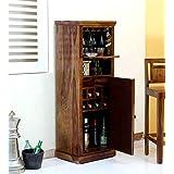 Furniture Flip Sheesham Wood Bar Cabinet with Wine Glass Storage for Home (Teak Finish)