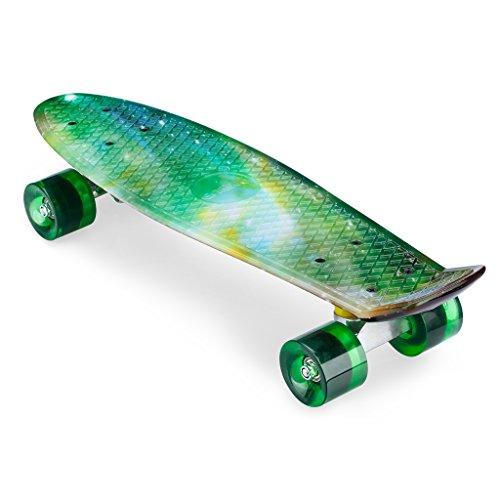 ENKEEO 57cm Mini Cruiser Board Skateboard mit stabilen Deck 4 PU-Rollen für Kinder, Jugendliche und Erwachsene (Sky)