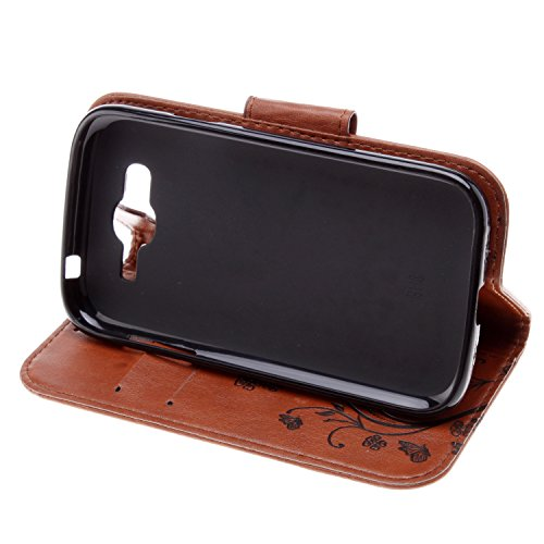 Samsung Galaxy I9080 Cover Protettiva, Alfort 2 in 1 Custodia in Pelle Verniciata Goffrata Farfalle e Fiori Alta qualità Cuoio Flip Stand Case per la Custodia Samsung Galaxy I9080 Ci sono Funzioni di  Marrone