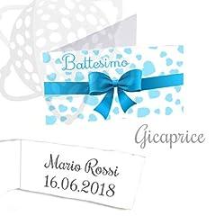 Idea Regalo - Gicaprice Bigliettini bomboniera Personalizzati con Stampa Omaggio (50 BIGLIETTINI Battesimo Bimbo)